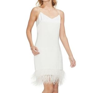 Vince Camuto Feather Hem Satin Slipdress